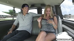 Delicious blonde Anabelle Pync shows off her beautiful big boobs in the car