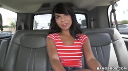 Cute, young Latina Kara Hartley is welcomed to bang bus