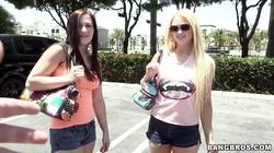 Babes Jordi Jae and Summer Blue get filmed outdoor