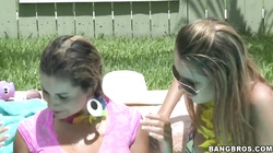 Three awesome lesbians getting naughty in the pool