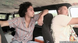 Sahara Gold and Taylor Ray get filmed from bang bus