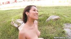 Lusty brunette slut Jessi Foster gives head outdoor