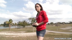Hot college girl Emily Benjamins is showing her tits