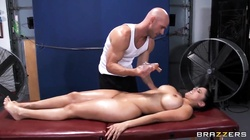 Young brunette girl with tight and very big boobs Diamond Kitty being oiled up and fucked in ass by