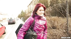 Redhead chick Lucie demonstrates her natural tits