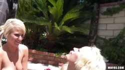 Poolside fun with two blondes casting Destiny James and London Gianna