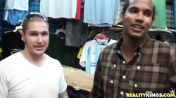 Two young dudes strip in public for money