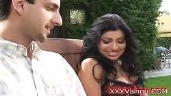 Super hot busty Indian sucks white cock