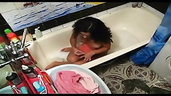 Indian Girl Caught on Hidden Cam Bathing and Playing