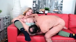 Magnificent blonde fucked hard on the bed