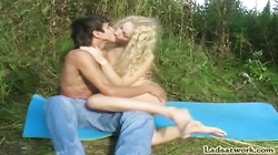 Young blonde fuck on nature