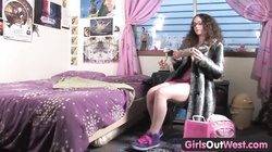 Girls Out West - Hairy Rosie playing with sex toy