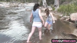 Girls Out West - Aussie lesbian river sex