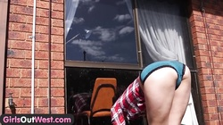 Girls Out West - Aussie brunette fingers her hairy hole