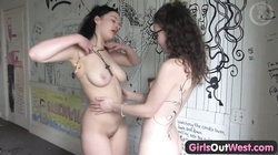 Girls Out West - Hairy and busty lesbian girlfriends