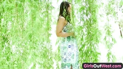 Girls Out West - Exotic babe plays with glass toy