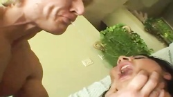 She sucks them both and they DP her