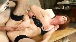 Hairy pussy girl in stockings fucked up the ass