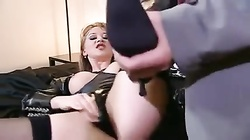 Perfect girl in leather laid in the asshole