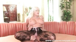 Very busty blonde milf in sexy stockings anal fucked
