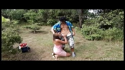 Petite babe gets anal fucked outdoors