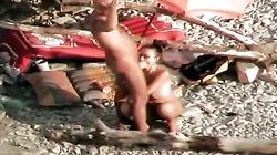amateur strapon on the beach