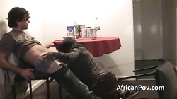 Horny African babe Cocoa sucks white Bfs dick on homemade