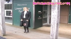 BBW Slut Wife In Stockings And Leather Boots Flashing In Public