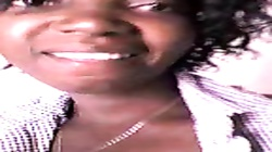 very hot black girl makes a video message