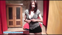 Stunning asian teen lapdancer gives a BJ and licks balls