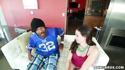 Black guy is getting an outstanding blowjob by an 18yo girl