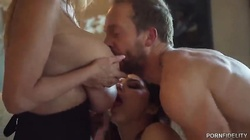 Gorgeous bedroom sex with cock-swallowing girlfriends