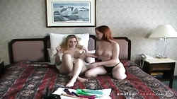 Blonde and brunette are enjoying sex with a strapon