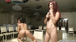 Watch hot lesbians licking each other cunts before a kinky jury