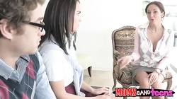 Slender mom and slutty teenager giving this guy a double dose of pleasure
