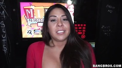 Big-ass Latina fucks with insanely huge black dick in the gloryhole