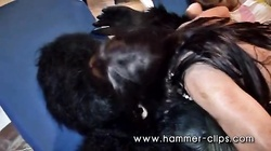 Dick-swallowing brunette giving a nice interracial blowjob