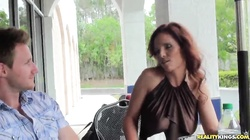 Hot redhead mom is getting seduced and fucked on camera