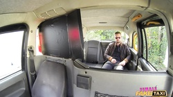 Busty Milf makes deepthroat blowjob for a casual guy on a back seat of Female Fake Taxi