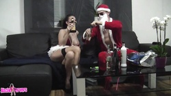 Horny Santa fucks hot brunette with amazingly big tits