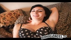 Short haired emo cutie gives a blowjob in POV porn