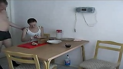 Daddy fucks a slender young Russian right in the kitchen