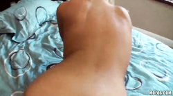 Busty blonde takes a venous dong deep in her little snatch