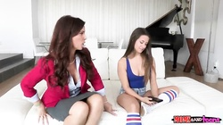 Dark-haired mom and step daughter are blowing his cock together