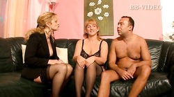Two BBW german mature ladies in sexy lingerie sucks one lucky cock