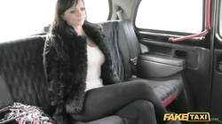 Busty brunette being seduced and fucked in the Fake Taxi