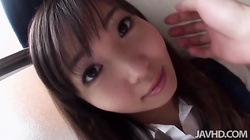 Innocent Asian schoolgirl with hairy pussy in Jav HD video
