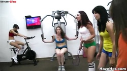 Naked babes are doing sports in the gym. Lesbian college porn is so wild!