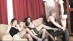 1 Granny, 3 Milfs and 1 luck russian Boy