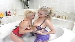Busty lesbians in the bathtub